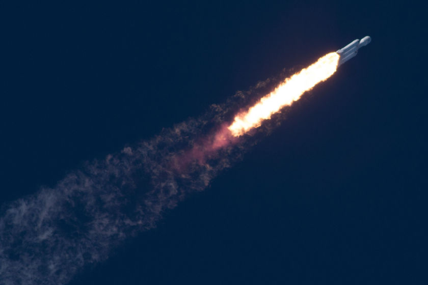 The Falcon Heavy in flight