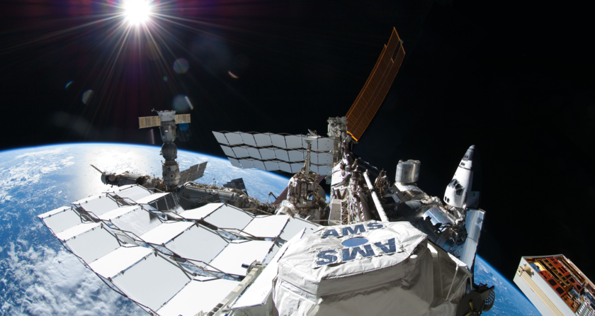 Panorama of Atlantis at the ISS in 2011