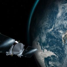 Artist's concept of OSIRIS-REx flying past Earth on September 22, 2017