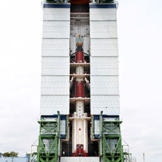 Polar Satellite Launch Vehicle assembled and waiting for Mars Orbiter Mission spacecraft, October 3, 2013
