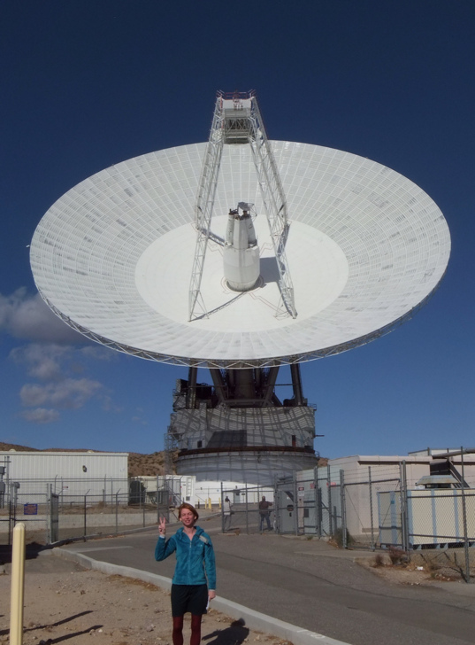 Emily Lakdawalla with the 70-meter DSS-14 antenna at Goldstone