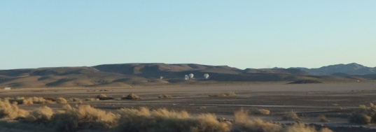 Distant 34-meter dishes, part of the Goldstone Deep Space Network complex
