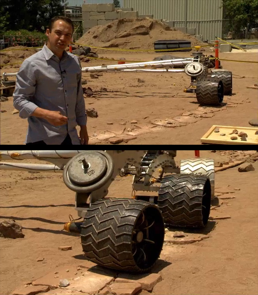 Rover wheel testing rig in Mars Yard, JPL (featuring Matt Heverly)
