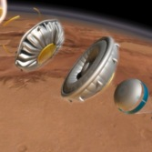 Artist's concept of the Low-Density Supersonic Decelerator (LDSD) at Mars