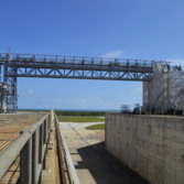 Pad 39B flame trench, looking northward