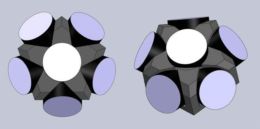 LightSail corner cube array, two views (draft design)