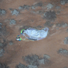 Hayabusa sample return capsule sitting in the Woomera desert, Australia