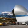 Super Guppy swallows Orion service module testing hardware