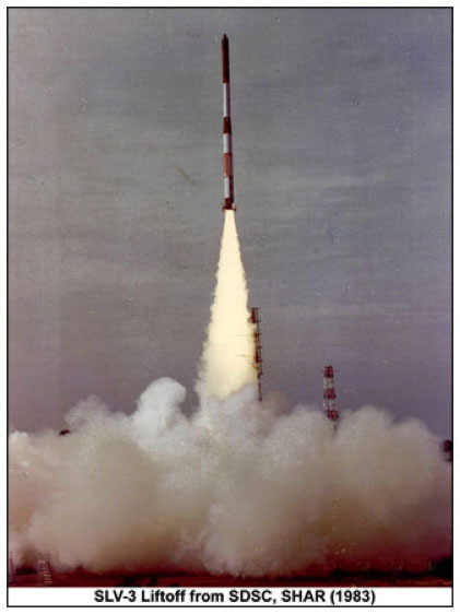 SLV-3 launch vehicle lifting off
