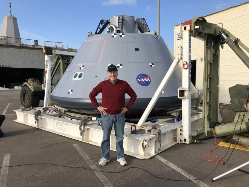 Mat Kaplan and the Orion Capsule Mock-up at Naval Base San Diego