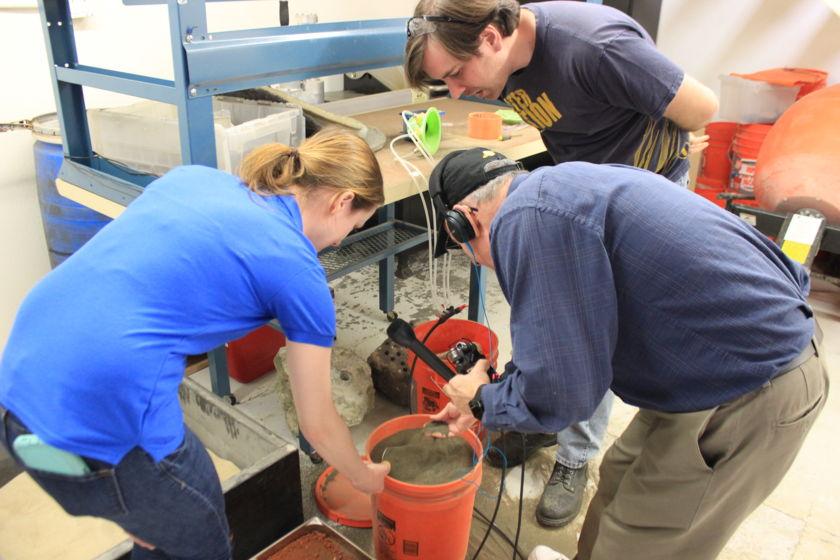 A bucket of Mars regolith simulant