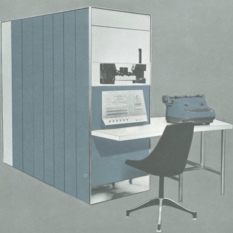 PDP-1 computer cabinets, console, and typewriter