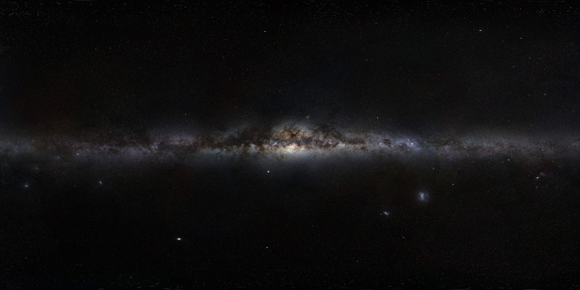 The entire sky, projected with the Milky Way at center