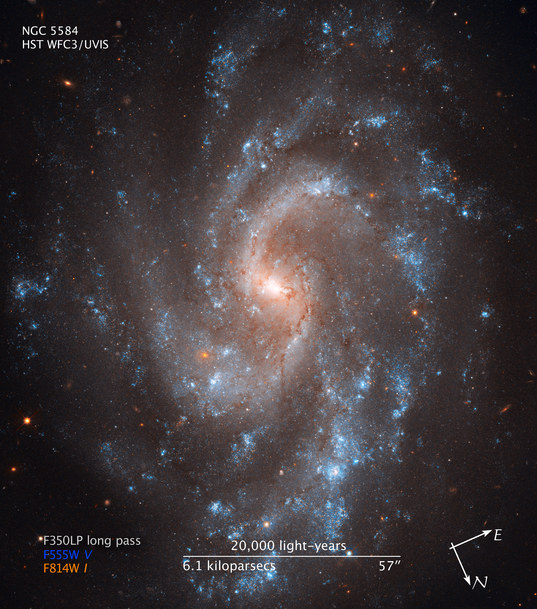 Galaxy NGC 5584 from Hubble WFC3 (compass and scale)