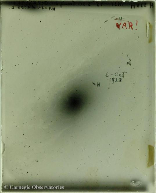 Edwin Hubble's photographic plate of Andromeda