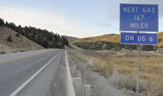 Next gas station, 167 miles.