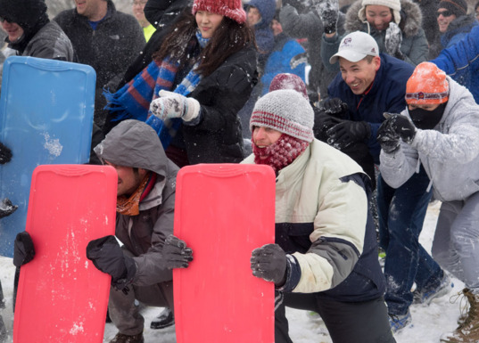 Snowball fight on the National Mall, Washington, D.C.