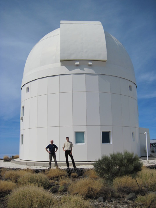 Rainer Kresken and Matthias Busch at ESA's Optical Ground Station