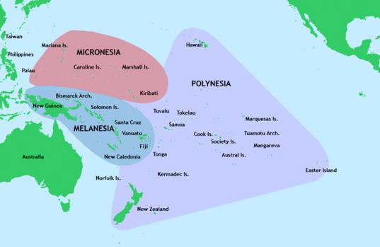 The Polynesian triangle, with Melanesia and Micronesia
