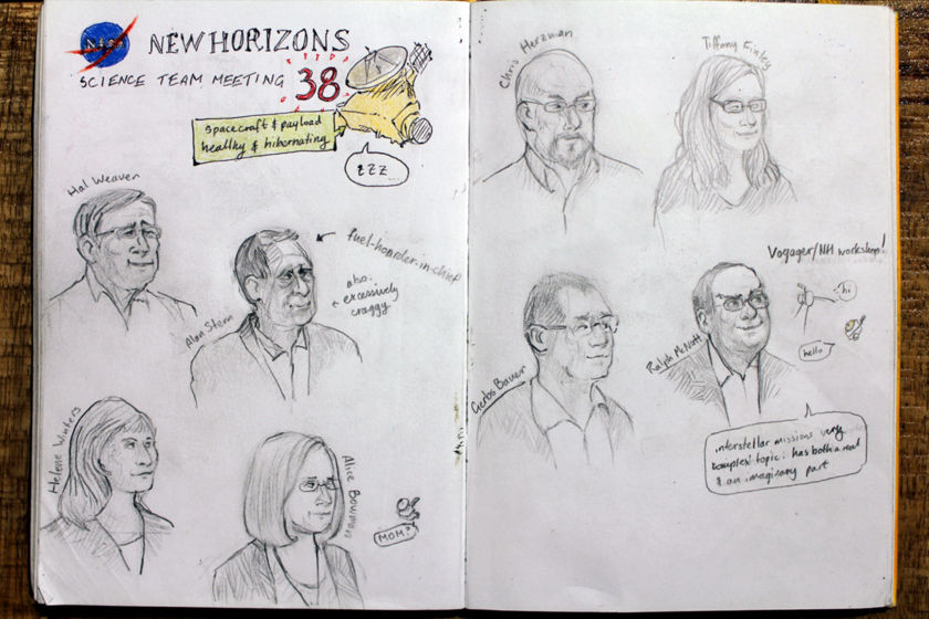 Winterhazelly's New Horizons Science Team Meeting sketchbook page 1