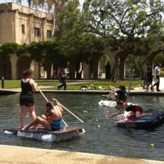 Rafts by Library at Caltech Ditch Day 2012