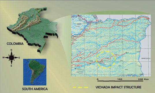 Location of Rio Vichada Impact Structure