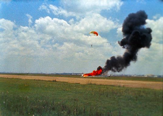 Neil Armstrong parachutes after the LLRV crash