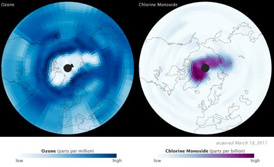 Aura satellite shows ozone depletion