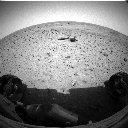 First view from Spirit's front Hazcam after egress, sol 12