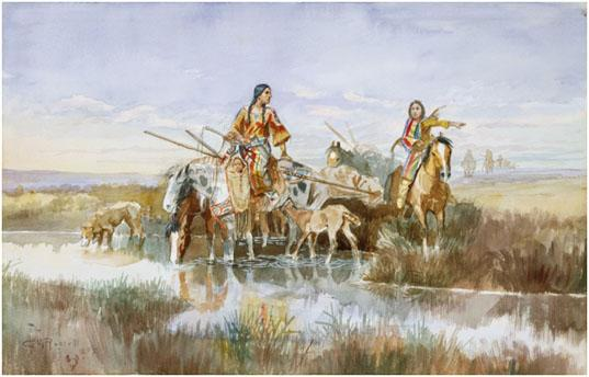 Charles M. Russell (1864–1926), <i>Indian Family with Travois</i>, 1897