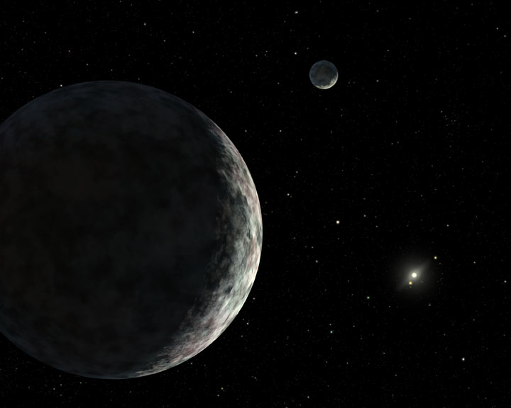 Artist's depiction of Eris and its moon, Dysnomia