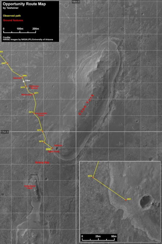 Opportunity route map to sol 2681