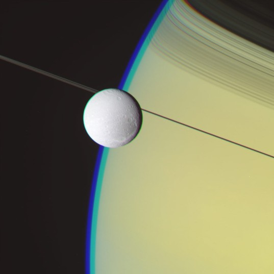 RGB color image processing: Dione and Saturn, May 2, 2012, step 1.