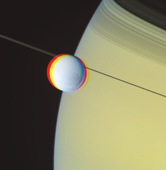 RGB color image processing: Dione and Saturn, May 2, 2012, step 2.