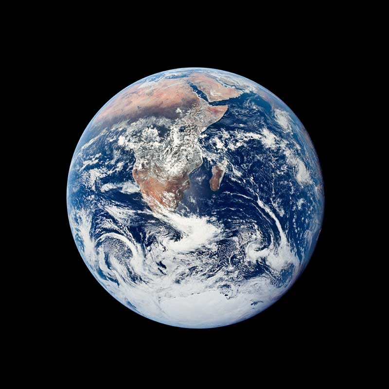 Iconic view of Earth from Apollo 17