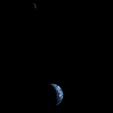 Crescent Earth and Moon from Voyager 1
