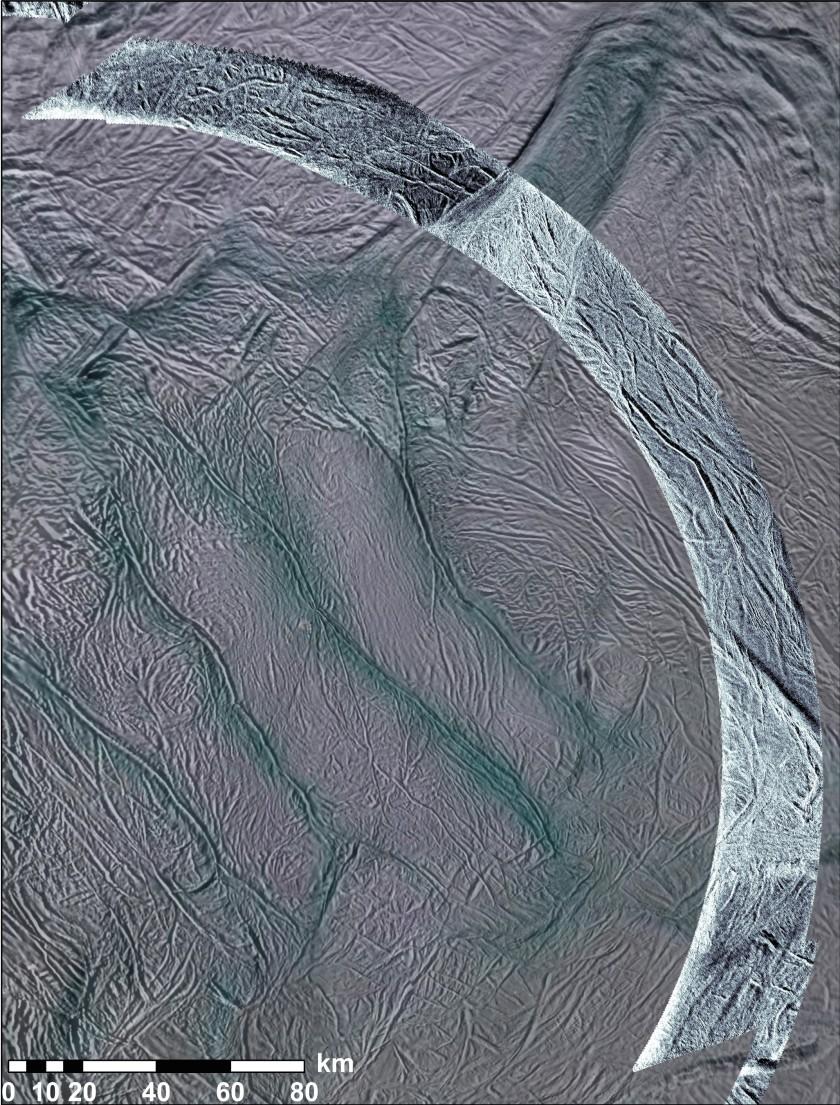 First-ever SAR swath on Enceladus