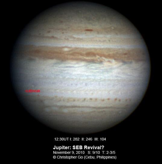 Jupiter on November 9, 2010: Outbreak?
