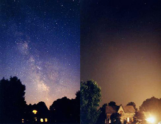 The effects of light pollution before and after with a House and a bright light effecting the views of stars and the Milky Way!
