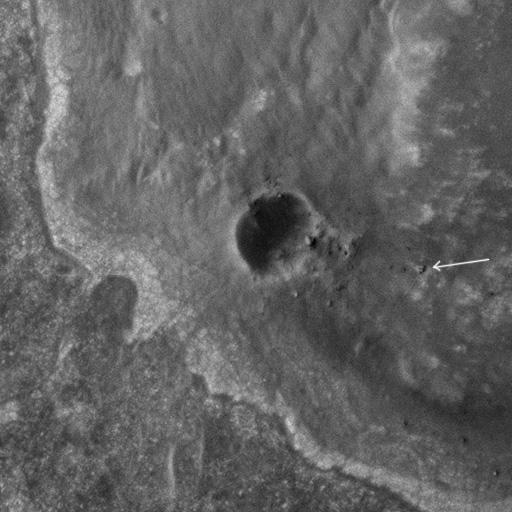 Opportunity on Endeavour's rim (detail)