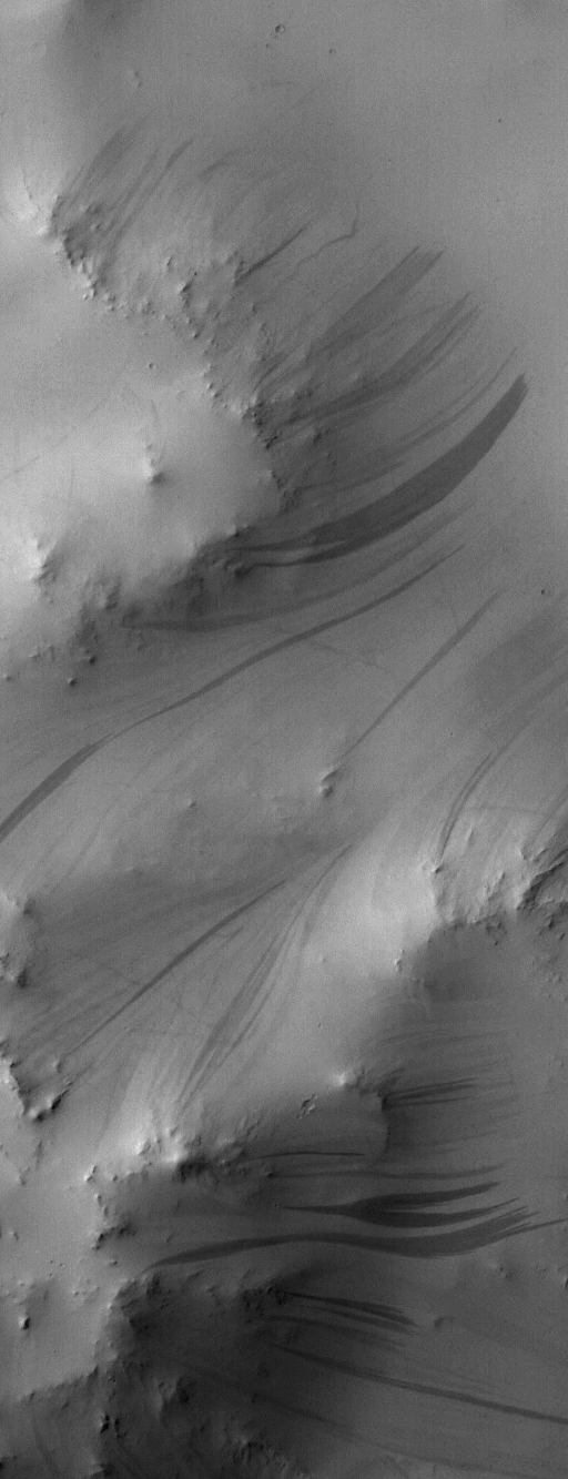 Detail view of central mound of a Martian crater with slope streaks