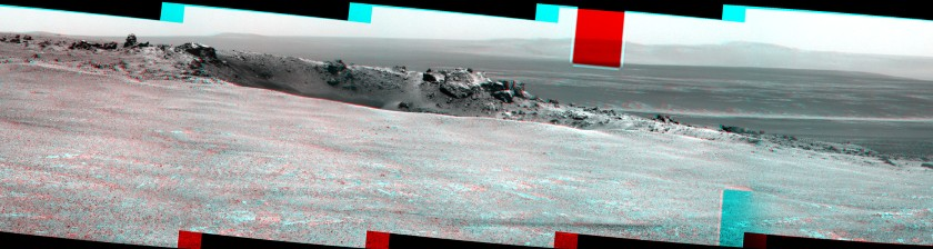 Odyssey Crater on Cape York, sol 2681 (anaglyph)