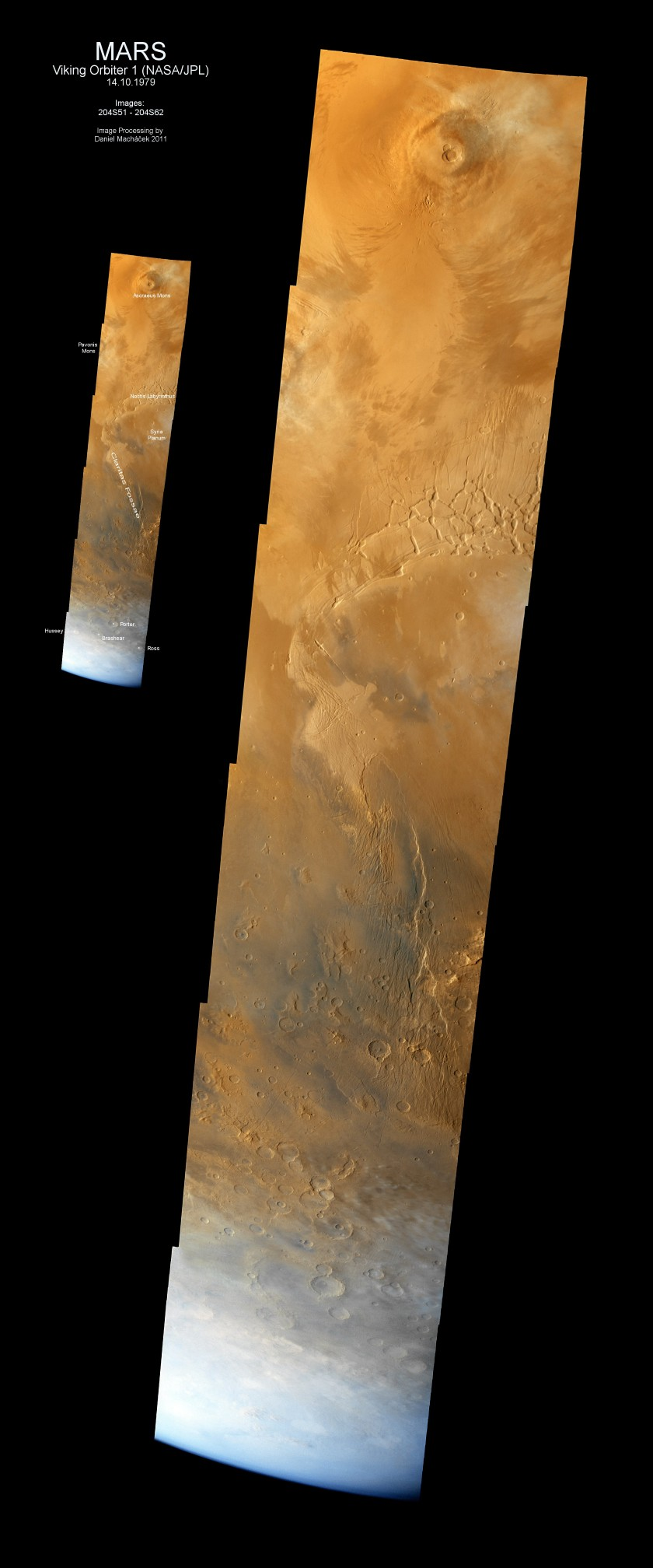 Viking 1 view of Mars' southern hemisphere from Ascraeus Mons to the pole