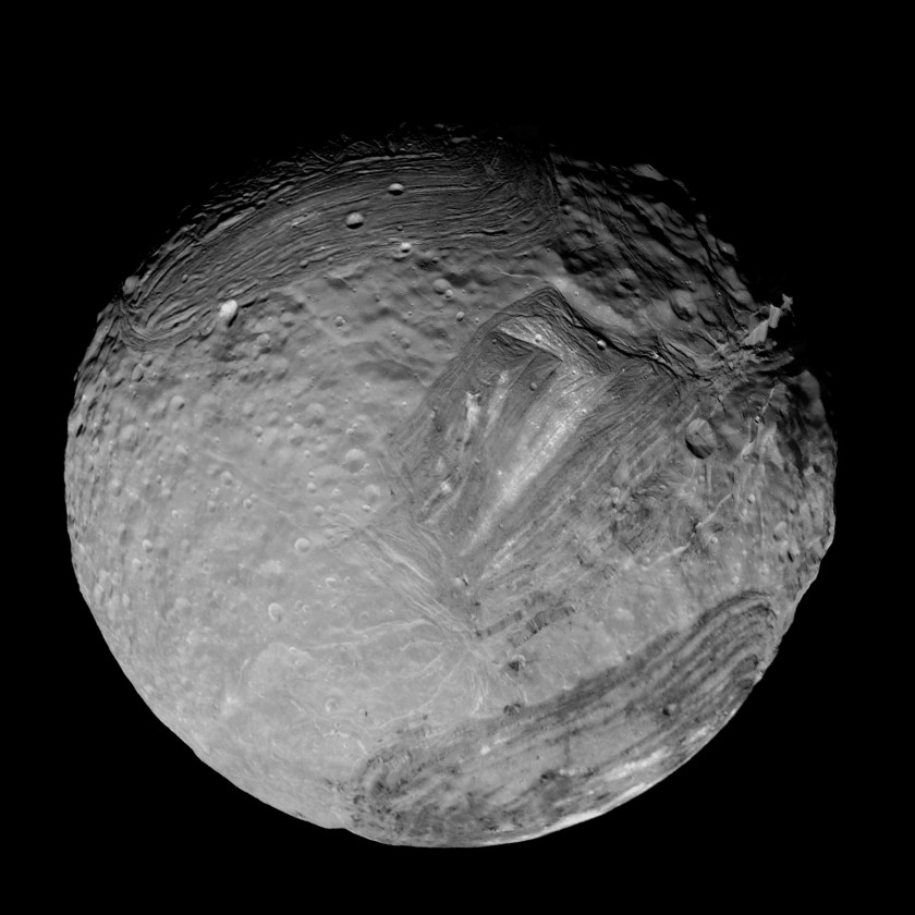 Voyager 2's best image of Miranda