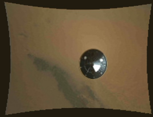 MARDI view of Curiosity's heat shield falling away