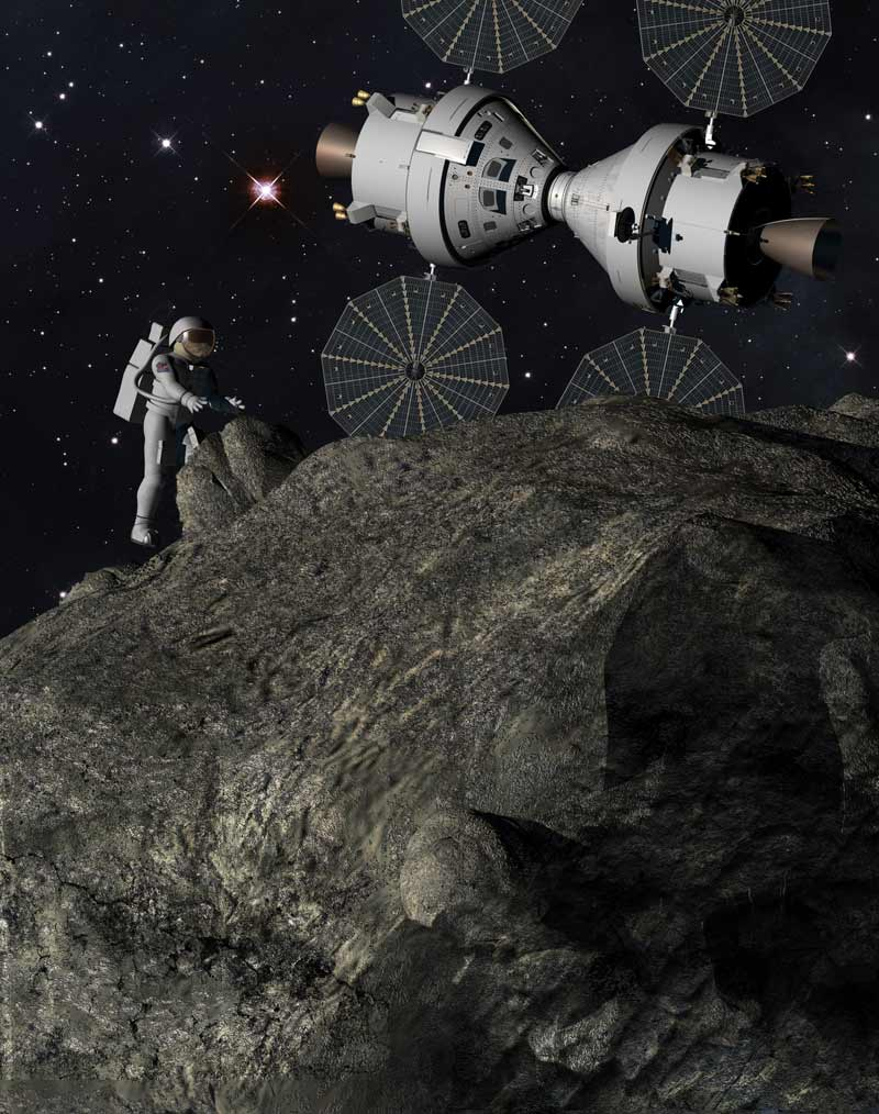 Human mission to an asteroid in an Orion capsule (thumbnail)