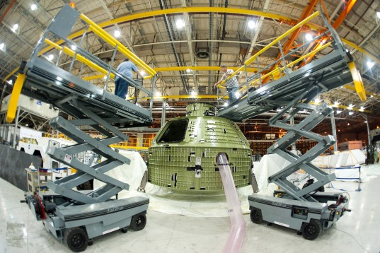 Orion EFT-1 capsule ready for shipment
