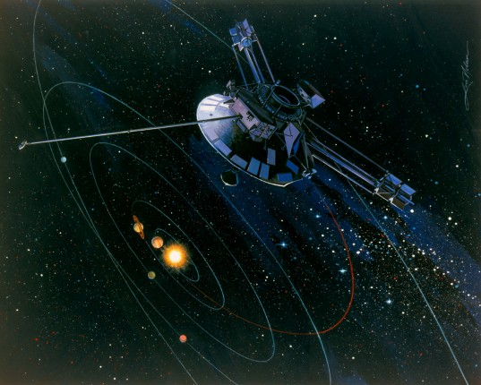 Pioneer 10 exiting the solar system