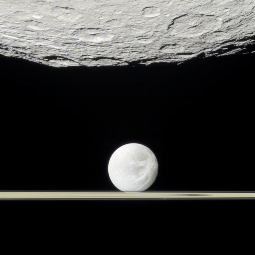 Rhea, rings, Dione