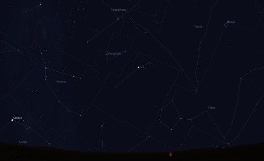 View of Perseus at midnight local time around August 12, 2012